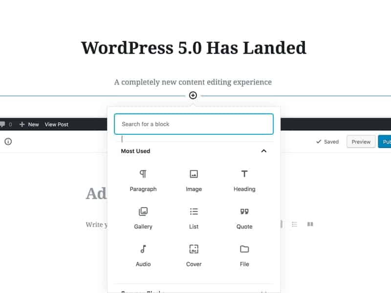 WordPress 5 A New Editing Experience